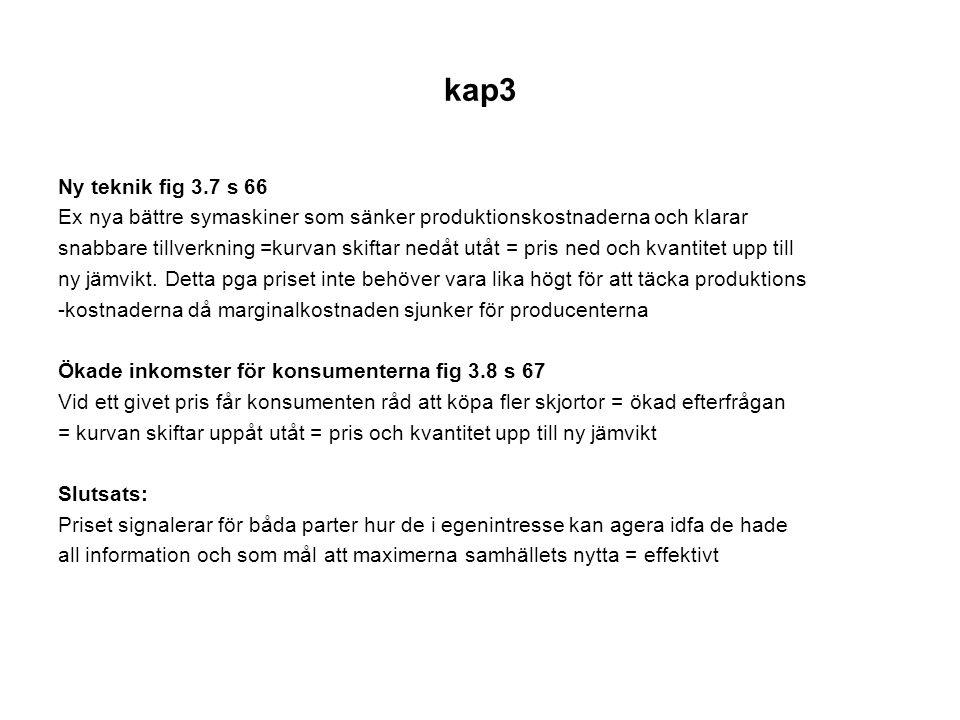 kap3 Ny teknik fig 3.7 s 66 Ex nya bättre symaskiner som sänker produktionskostnaderna och klarar snabbare tillverkning =kurvan skiftar nedåt utåt = p