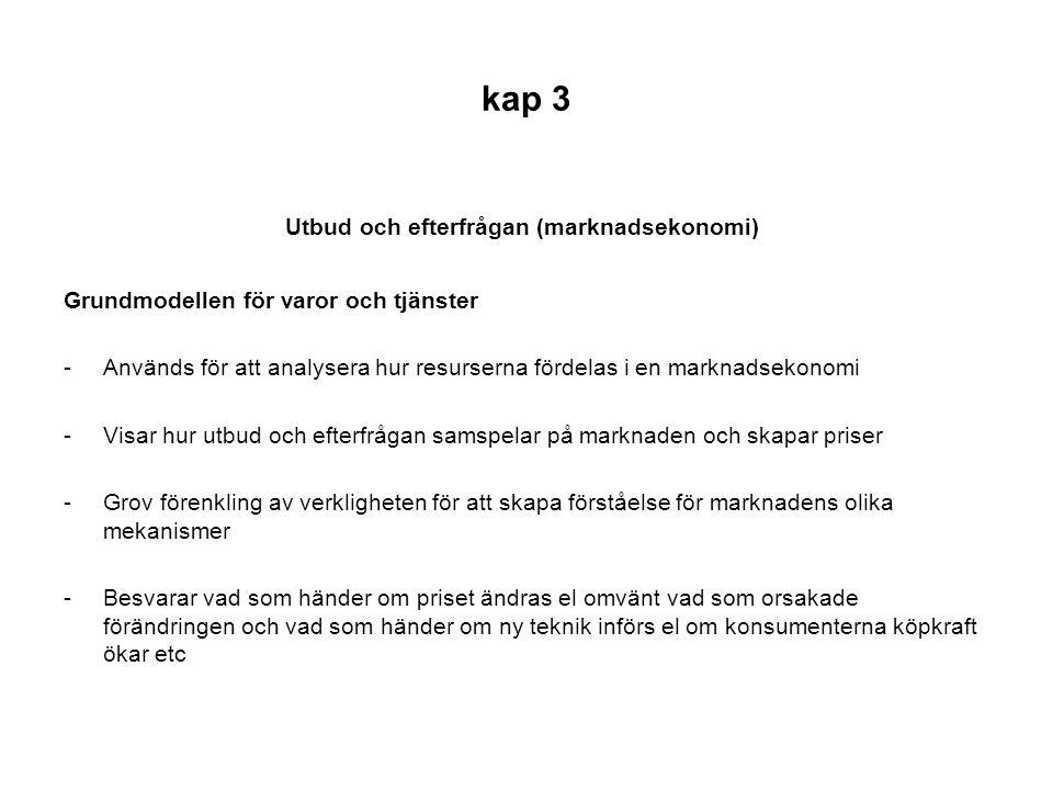 kap 3 Utbud och efterfrågan (marknadsekonomi) Grundmodellen för varor och tjänster -Används för att analysera hur resurserna fördelas i en marknadseko