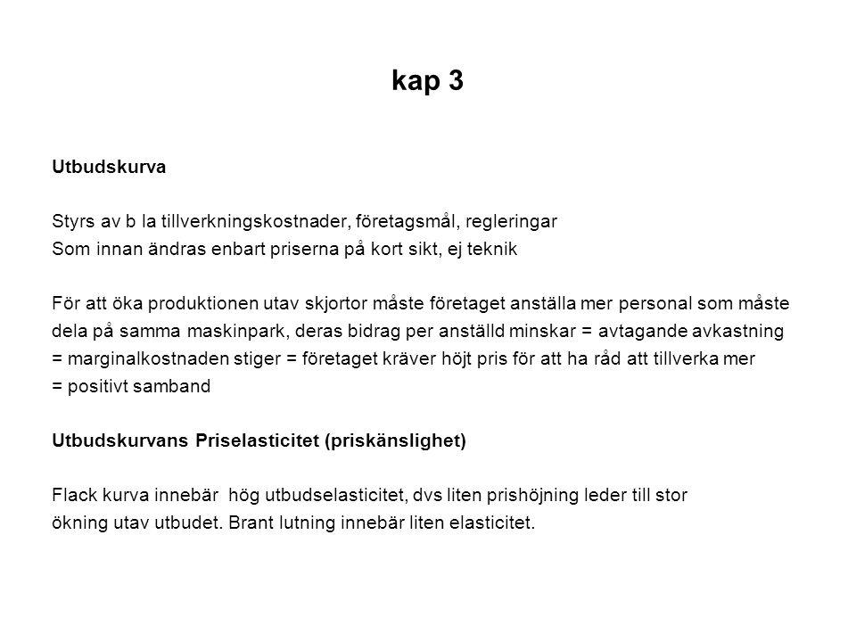 kap 3 Jämvikt i modellen Jämviktspris och kvantitet fig 3.4 s 61 Det pris och den kvantitet där marknaden är i jämvikt.
