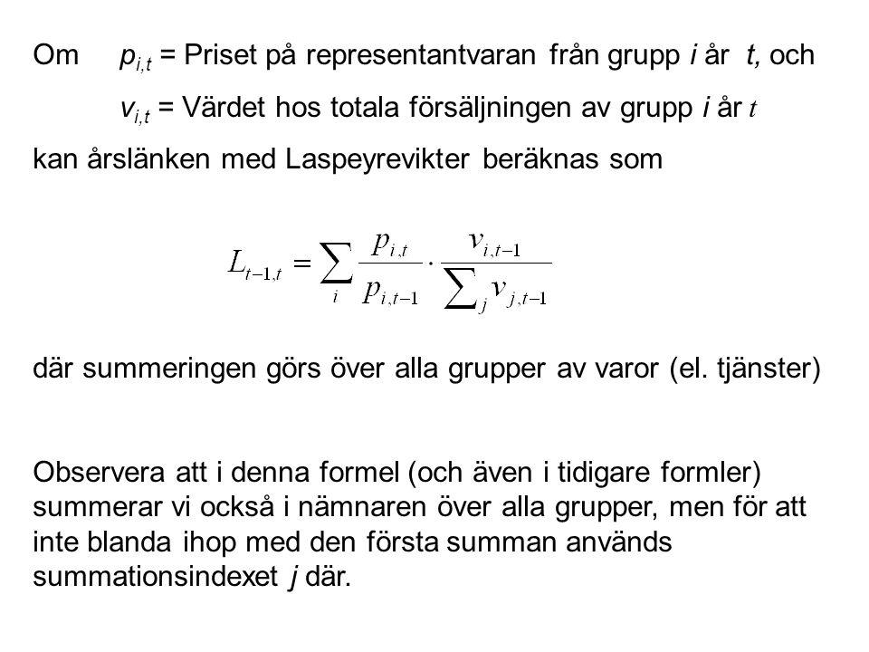 Om p i,t = Priset på representantvaran från grupp i år t, och v i,t = Värdet hos totala försäljningen av grupp i år t kan årslänken med Laspeyrevikter beräknas som där summeringen görs över alla grupper av varor (el.