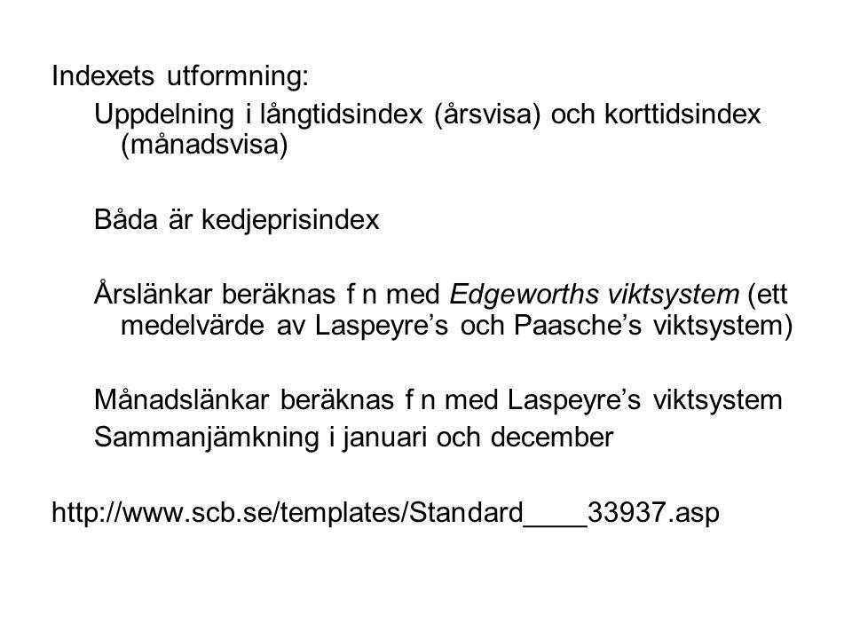 Indexets utformning: Uppdelning i långtidsindex (årsvisa) och korttidsindex (månadsvisa) Båda är kedjeprisindex Årslänkar beräknas f n med Edgeworths viktsystem (ett medelvärde av Laspeyre's och Paasche's viktsystem) Månadslänkar beräknas f n med Laspeyre's viktsystem Sammanjämkning i januari och december http://www.scb.se/templates/Standard____33937.asp