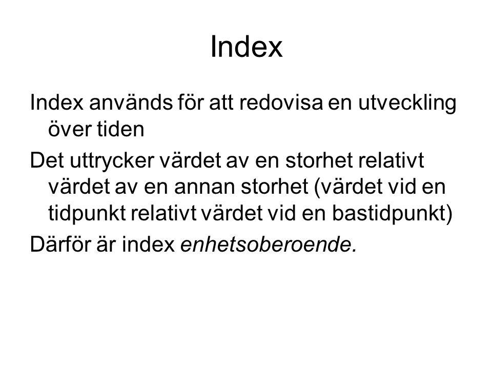 Index Index används för att redovisa en utveckling över tiden Det uttrycker värdet av en storhet relativt värdet av en annan storhet (värdet vid en tidpunkt relativt värdet vid en bastidpunkt) Därför är index enhetsoberoende.