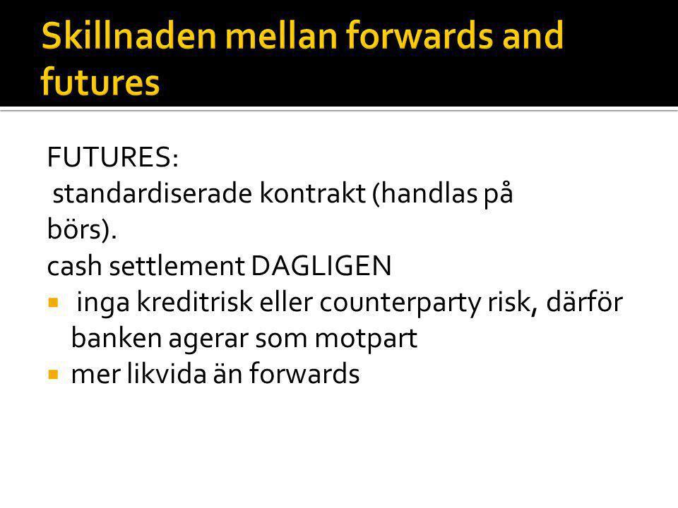 FUTURES: standardiserade kontrakt (handlas på börs). cash settlement DAGLIGEN  inga kreditrisk eller counterparty risk, därför banken agerar som motp