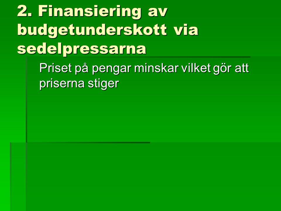 2. Finansiering av budgetunderskott via sedelpressarna Priset på pengar minskar vilket gör att priserna stiger
