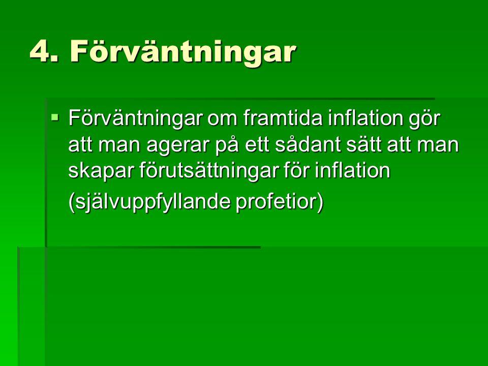4. Förväntningar  Förväntningar om framtida inflation gör att man agerar på ett sådant sätt att man skapar förutsättningar för inflation (självuppfyl