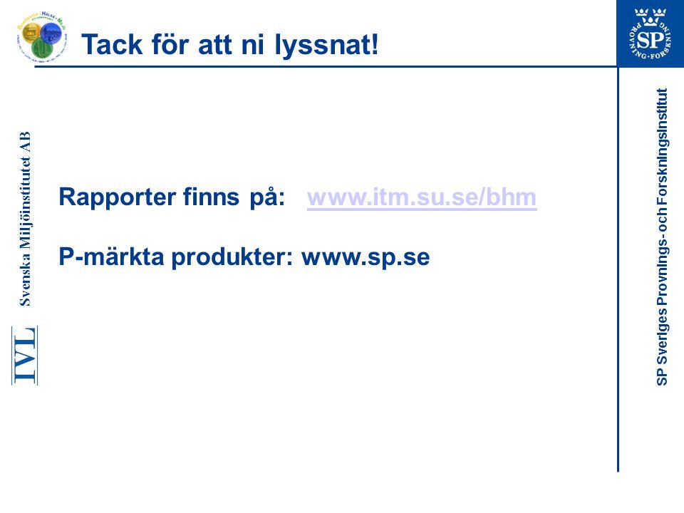 SP Sveriges Provnings- och Forskningsinstitut Rapporter finns på: www.itm.su.se/bhmwww.itm.su.se/bhm P-märkta produkter: www.sp.se Tack för att ni lys