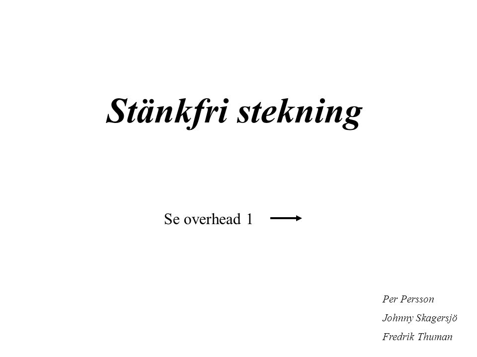 Stänkfri stekning Per Persson Johnny Skagersjö Fredrik Thuman Se overhead 1