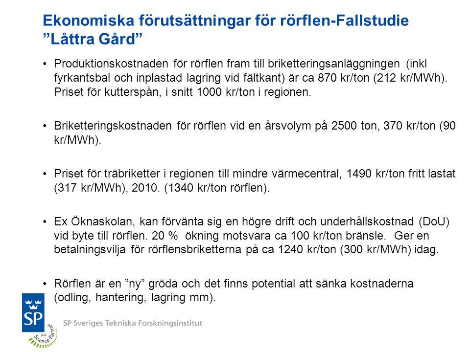 """Ekonomiska förutsättningar för rörflen-Fallstudie """"Låttra Gård"""" Produktionskostnaden för rörflen fram till briketteringsanläggningen (inkl fyrkantsbal"""