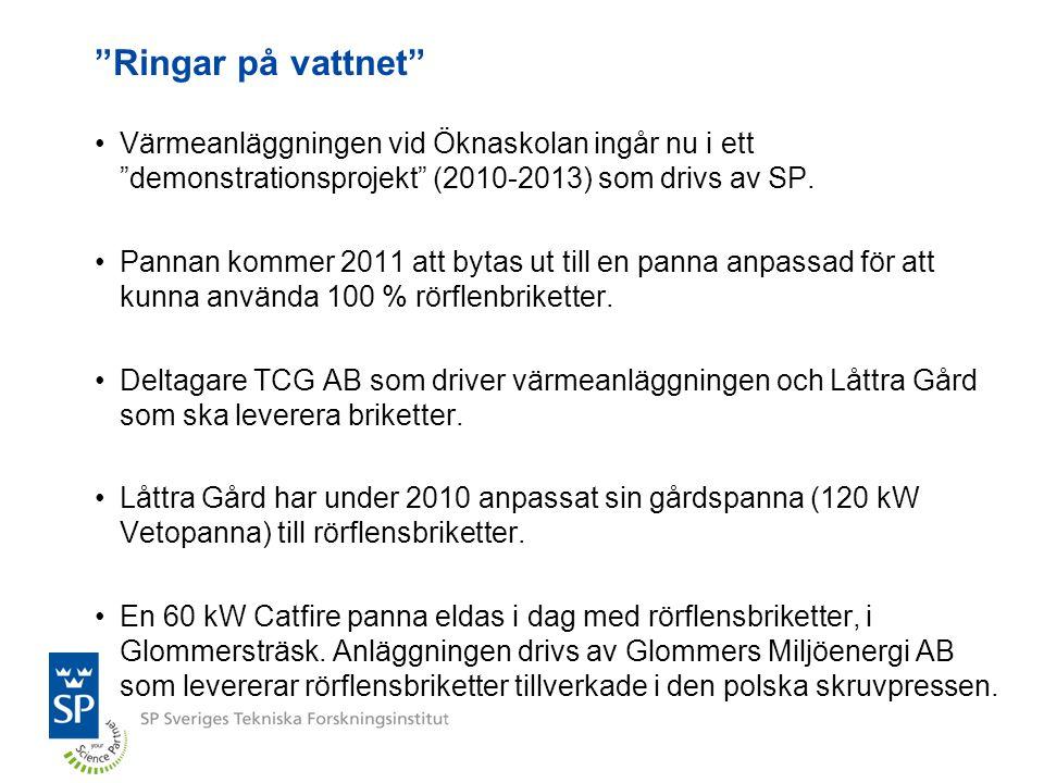 """""""Ringar på vattnet"""" Värmeanläggningen vid Öknaskolan ingår nu i ett """"demonstrationsprojekt"""" (2010-2013) som drivs av SP. Pannan kommer 2011 att bytas"""