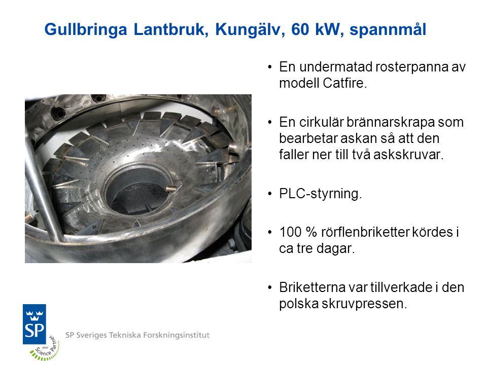 Gullbringa Lantbruk, Kungälv, 60 kW, spannmål En undermatad rosterpanna av modell Catfire. En cirkulär brännarskrapa som bearbetar askan så att den fa