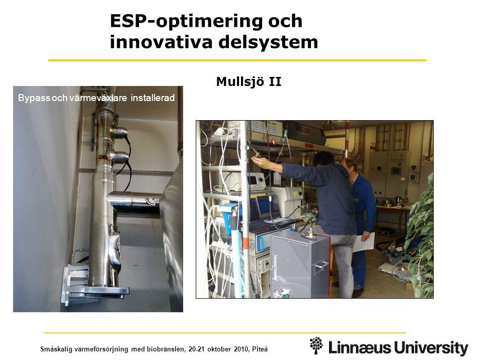 Småskalig värmeförsörjning med biobränslen, 20-21 oktober 2010, Piteå Mullsjö II ESP-optimering och innovativa delsystem Bypass och värmeväxlare installerad