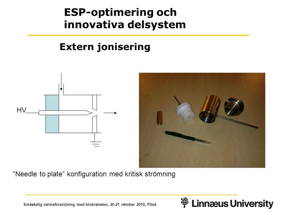 """Småskalig värmeförsörjning med biobränslen, 20-21 oktober 2010, Piteå """"Needle to plate"""" konfiguration med kritisk strömning HV Extern jonisering ESP-o"""
