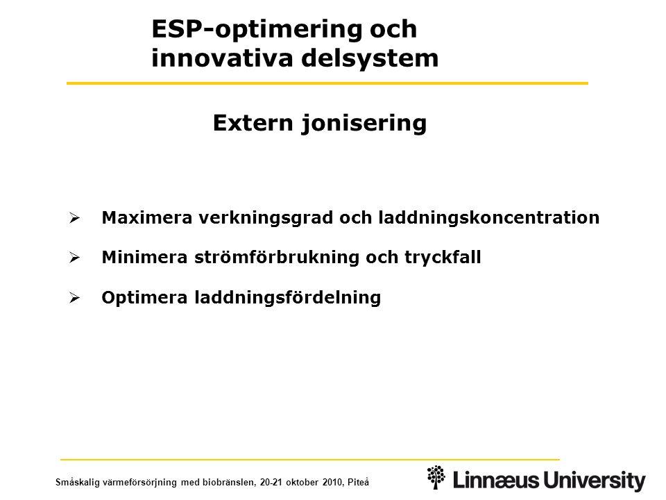 Småskalig värmeförsörjning med biobränslen, 20-21 oktober 2010, Piteå  Maximera verkningsgrad och laddningskoncentration  Minimera strömförbrukning och tryckfall  Optimera laddningsfördelning Extern jonisering ESP-optimering och innovativa delsystem