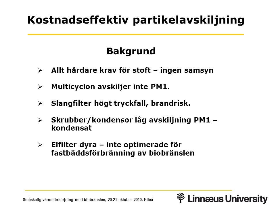 Småskalig värmeförsörjning med biobränslen, 20-21 oktober 2010, Piteå Mullsjö II Bränsle: Flis 50% fukt Last: 100 kW ESP: 1 fält + partikelfälla ESP-optimering och innovativa delsystem Totalavskiljning antal 25% Totalavskiljning massa 40% (optimering - mål Mullsjö 75%)