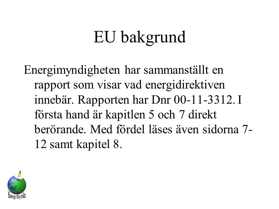 EU bakgrund Energimyndigheten har sammanställt en rapport som visar vad energidirektiven innebär. Rapporten har Dnr 00-11-3312. I första hand är kapit