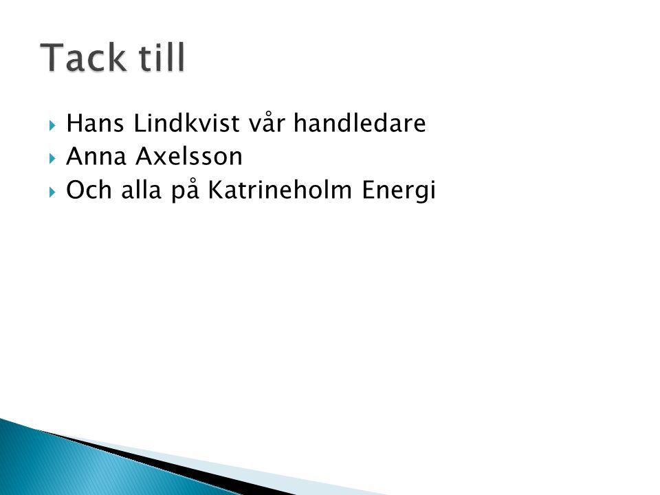  Hans Lindkvist vår handledare  Anna Axelsson  Och alla på Katrineholm Energi