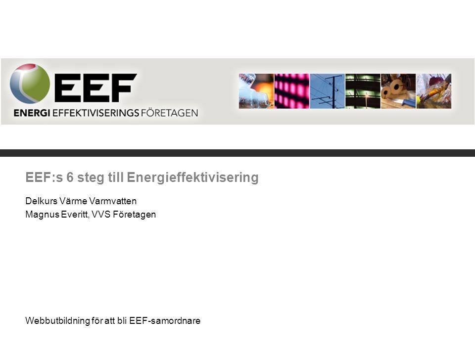 EEF:s 6 steg till Energieffektivisering Delkurs Värme Varmvatten Magnus Everitt, VVS Företagen Webbutbildning för att bli EEF-samordnare