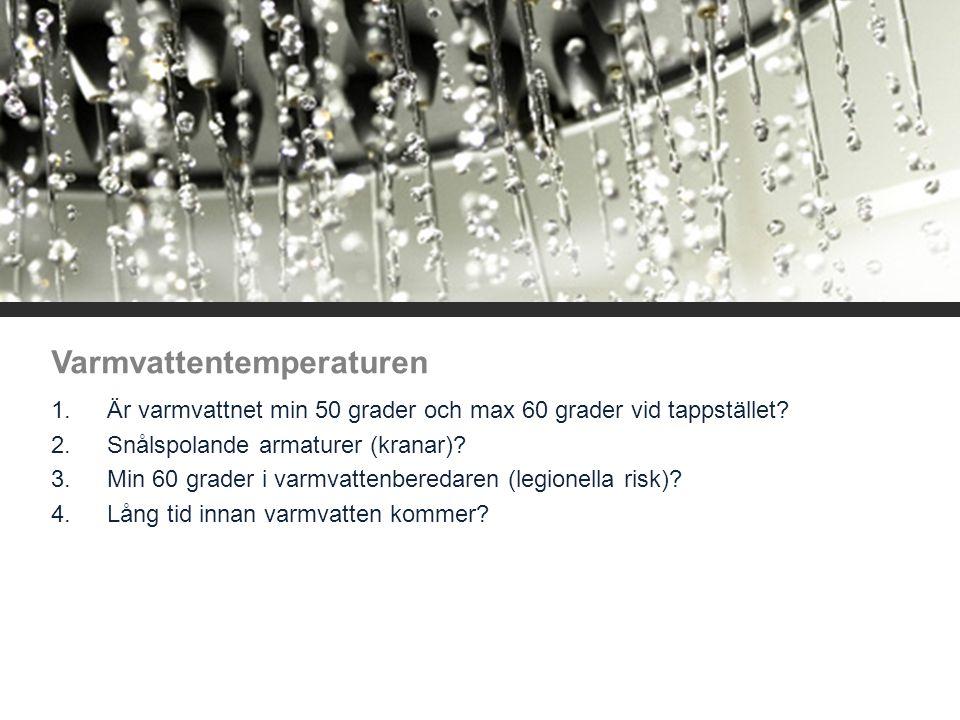 Varmvattentemperaturen 1.Är varmvattnet min 50 grader och max 60 grader vid tappstället? 2.Snålspolande armaturer (kranar)? 3.Min 60 grader i varmvatt