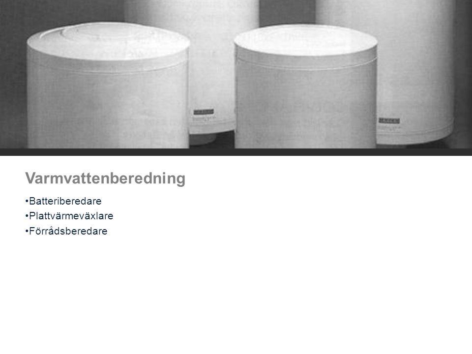 Komponenter varmvattenberedare Reglerutrustning Mekanisk Elektronisk Beredare VVX Cirkulationspump VVC Armaturer