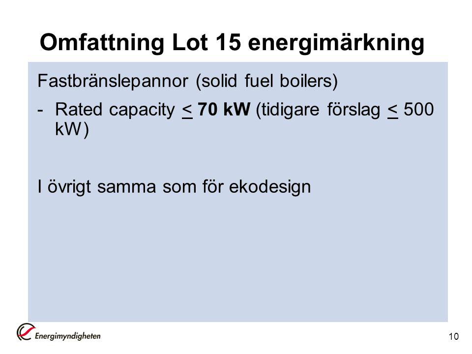 10 Omfattning Lot 15 energimärkning Fastbränslepannor (solid fuel boilers) -Rated capacity < 70 kW (tidigare förslag < 500 kW) I övrigt samma som för