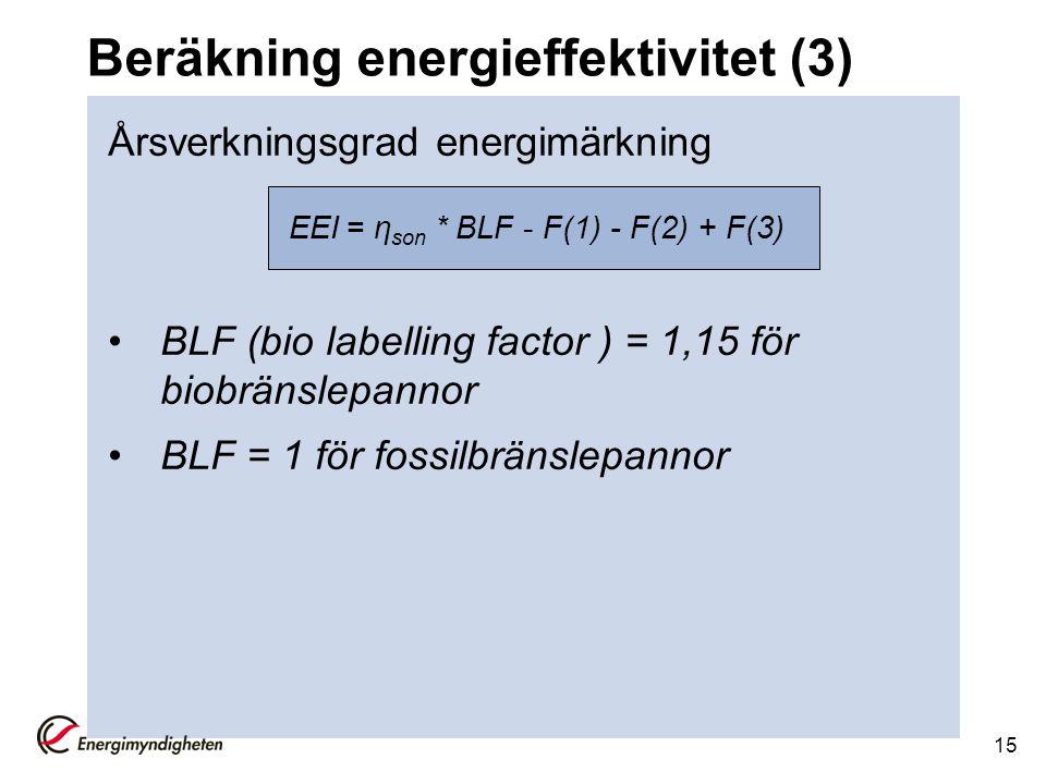 Beräkning energieffektivitet (3) Årsverkningsgrad energimärkning BLF (bio labelling factor ) = 1,15 för biobränslepannor BLF = 1 för fossilbränslepann