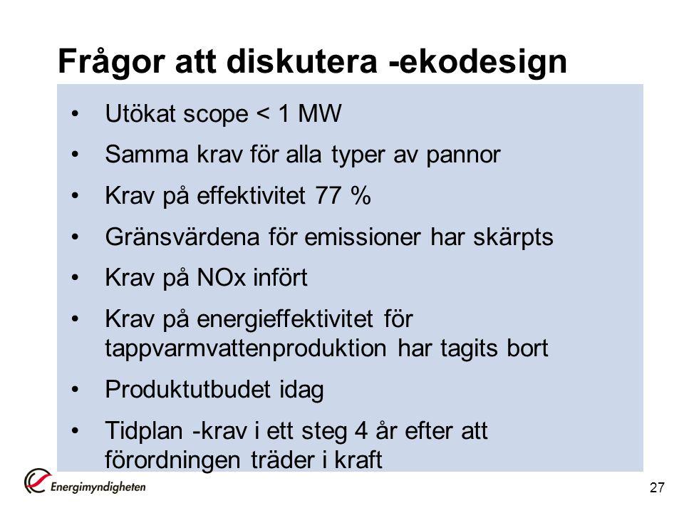 Frågor att diskutera -ekodesign Utökat scope < 1 MW Samma krav för alla typer av pannor Krav på effektivitet 77 % Gränsvärdena för emissioner har skär