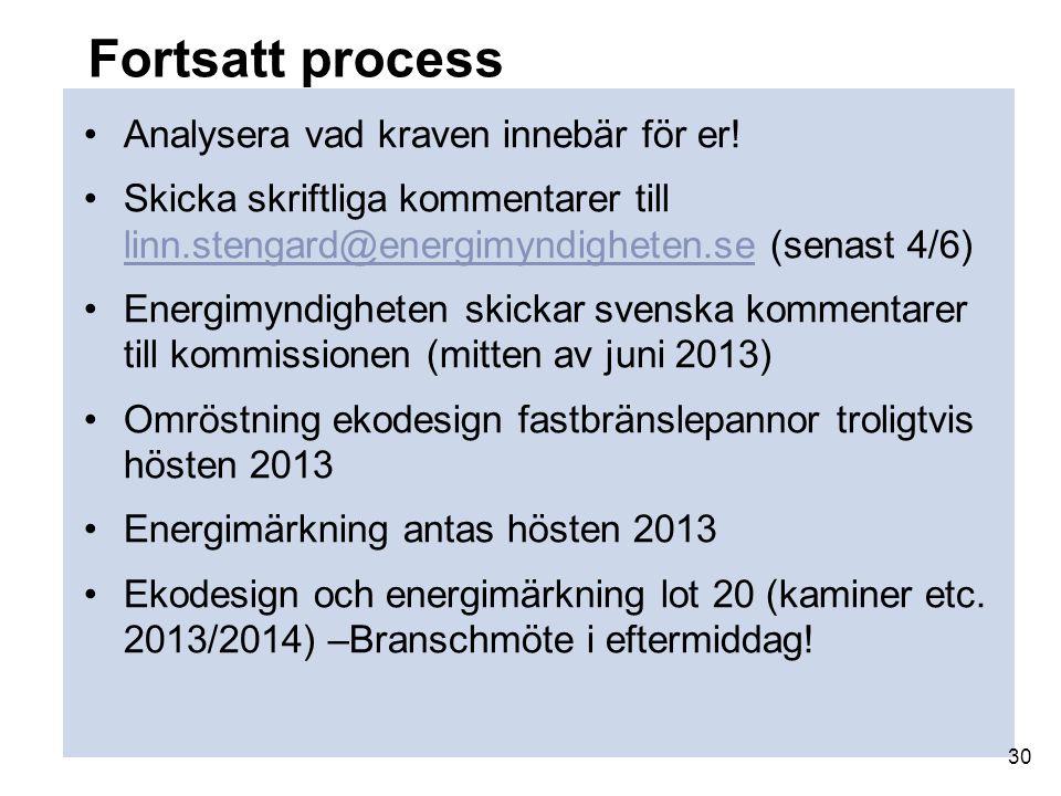 Fortsatt process Analysera vad kraven innebär för er! Skicka skriftliga kommentarer till linn.stengard@energimyndigheten.se (senast 4/6) linn.stengard