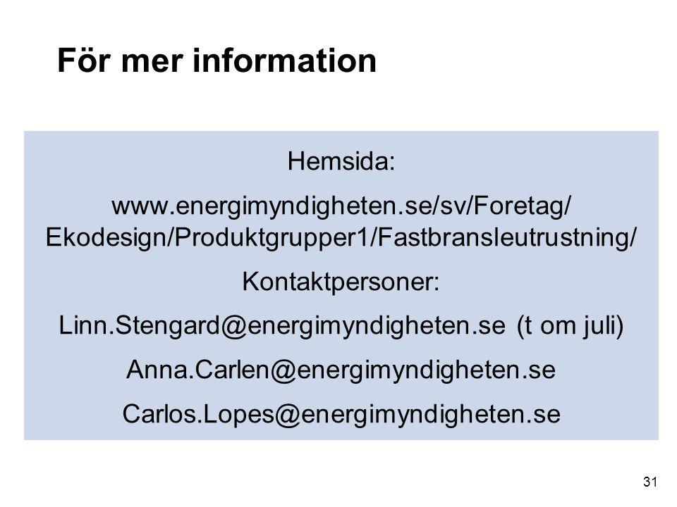 För mer information Hemsida: www.energimyndigheten.se/sv/Foretag/ Ekodesign/Produktgrupper1/Fastbransleutrustning/ Kontaktpersoner: Linn.Stengard@ener