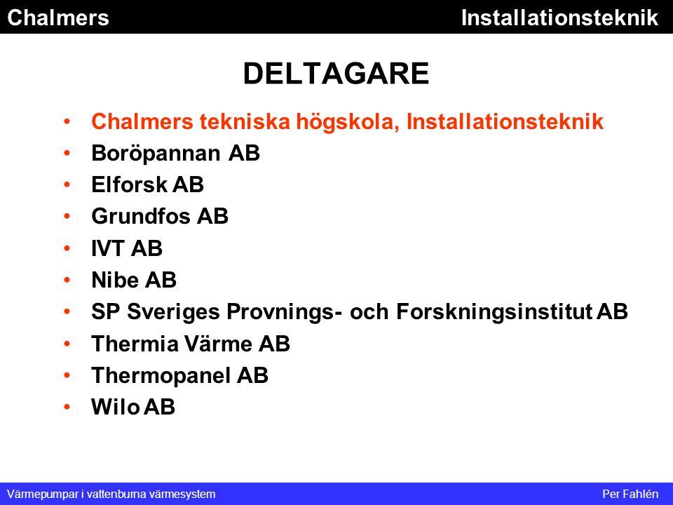 ChalmersInstallationsteknik Värmepumpar i vattenburna värmesystemPer Fahlén DELTAGARE Chalmers tekniska högskola, Installationsteknik Boröpannan AB El