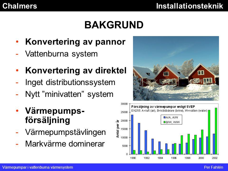 ChalmersInstallationsteknik Värmepumpar i vattenburna värmesystemPer Fahlén BAKGRUND Konvertering av pannor -Vattenburna system Konvertering av direkt