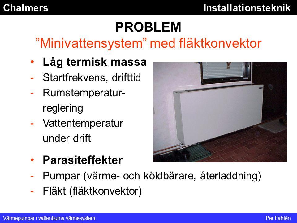 """ChalmersInstallationsteknik Värmepumpar i vattenburna värmesystemPer Fahlén PROBLEM """"Minivattensystem"""" med fläktkonvektor Låg termisk massa -Startfrek"""