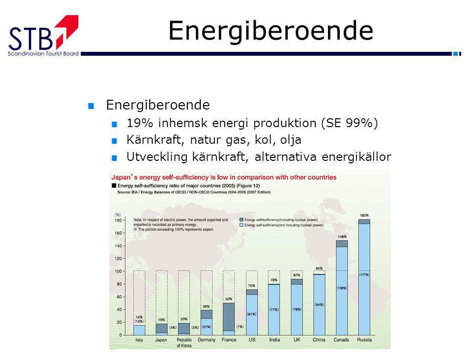 Energiberoende 19% inhemsk energi produktion (SE 99%) Kärnkraft, natur gas, kol, olja Utveckling kärnkraft, alternativa energikällor