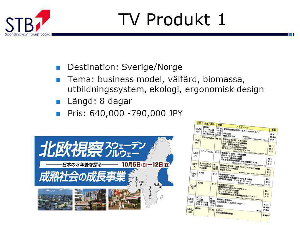 TV Produkt 1 Destination: Sverige/Norge Tema: business model, välfärd, biomassa, utbildningssystem, ekologi, ergonomisk design Längd: 8 dagar Pris: 64