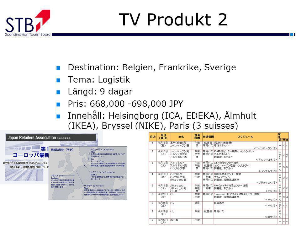TV Produkt 2 Destination: Belgien, Frankrike, Sverige Tema: Logistik Längd: 9 dagar Pris: 668,000 -698,000 JPY Innehåll: Helsingborg (ICA, EDEKA), Älm