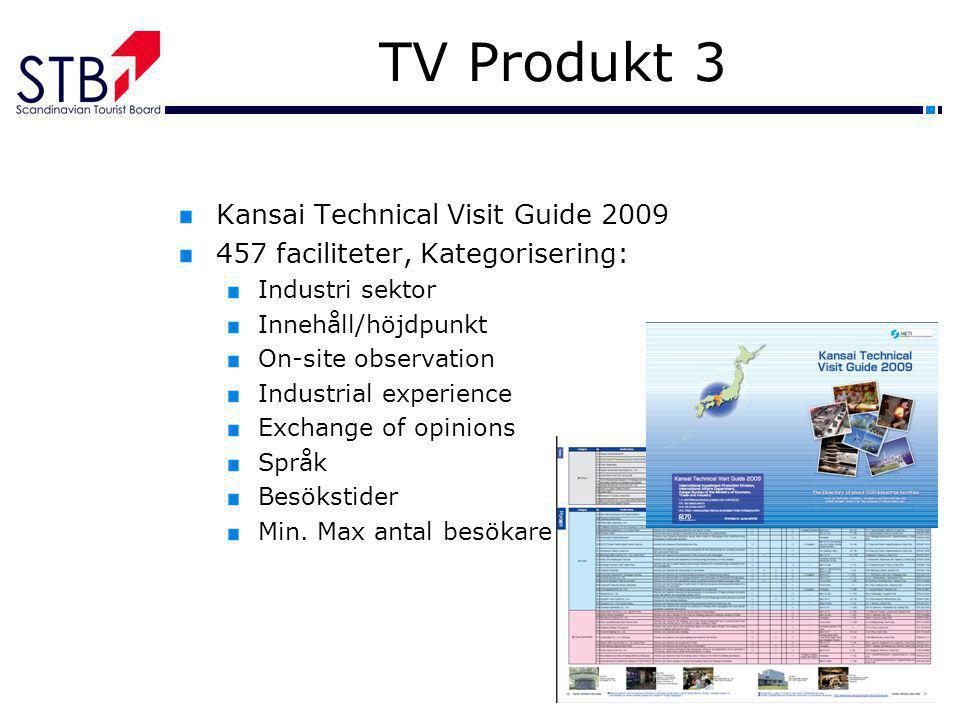 TV Produkt 3 Kansai Technical Visit Guide 2009 457 faciliteter, Kategorisering: Industri sektor Innehåll/höjdpunkt On-site observation Industrial expe