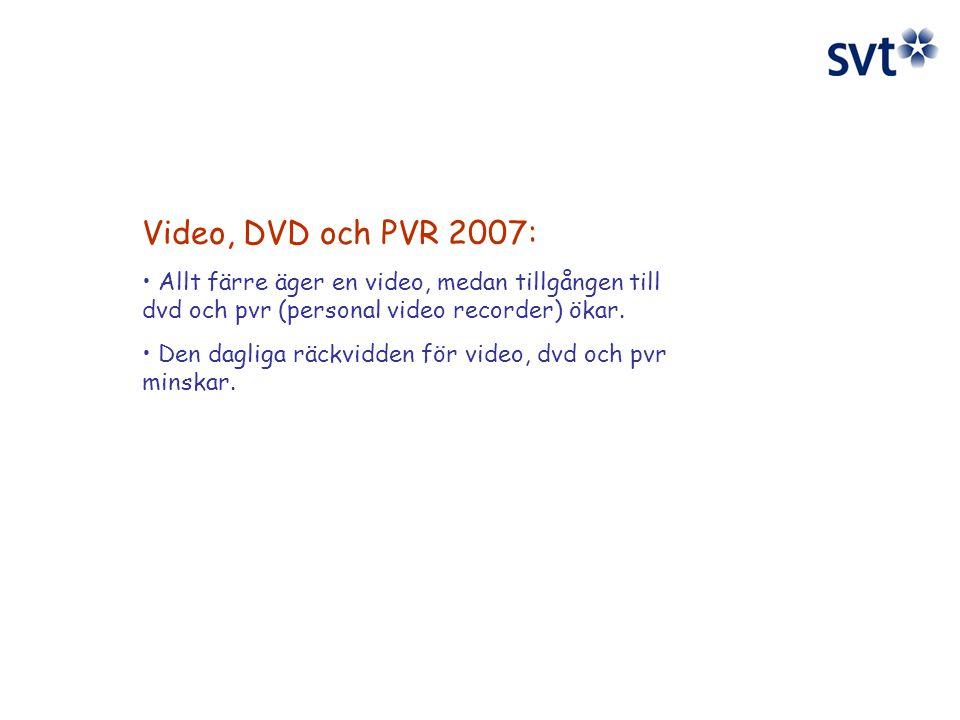 Video, DVD och PVR 2007: Allt färre äger en video, medan tillgången till dvd och pvr (personal video recorder) ökar.