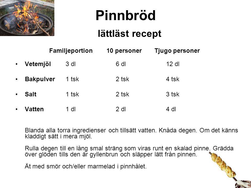 Pinnbröd lättläst recept Familjeportion 10 personer Tjugo personer Vetemjöl3 dl6 dl12 dl Bakpulver1 tsk2 tsk4 tsk Salt1 tsk2 tsk3 tsk Vatten1 dl2 dl4 dl Blanda alla torra ingredienser och tillsätt vatten.