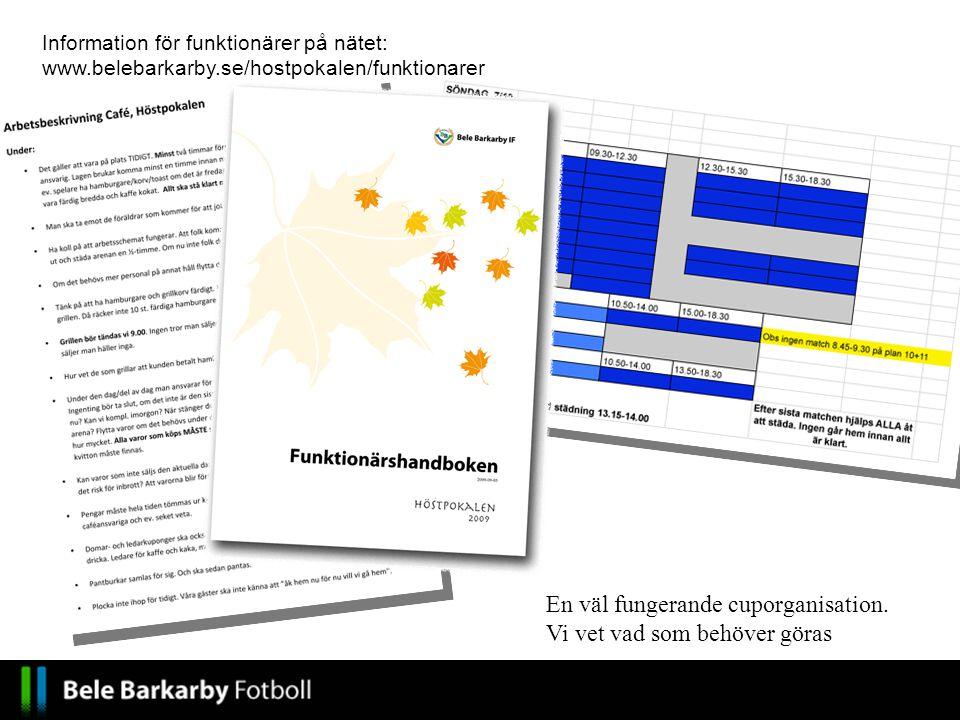 En väl fungerande cuporganisation. Vi vet vad som behöver göras Information för funktionärer på nätet: www.belebarkarby.se/hostpokalen/funktionarer
