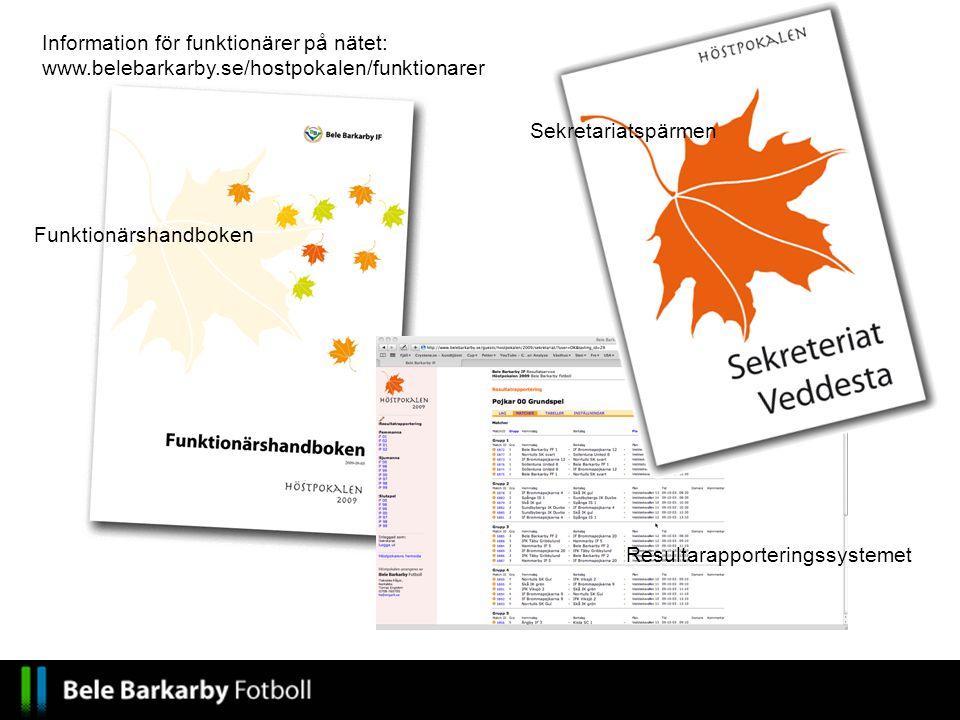 Information för funktionärer på nätet: www.belebarkarby.se/hostpokalen/funktionarer Funktionärshandboken Sekretariatspärmen Resultarapporteringssystem