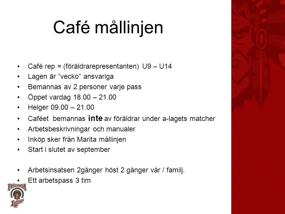 """Café mållinjen Café rep = (föräldrarepresentanten) U9 – U14 Lagen är """"vecko"""" ansvariga Bemannas av 2 personer varje pass Öppet vardag 18.00 – 21.00 He"""