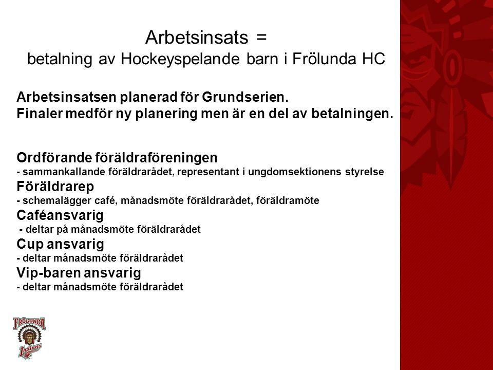 Arbetsinsats = betalning av Hockeyspelande barn i Frölunda HC Arbetsinsatsen planerad för Grundserien. Finaler medför ny planering men är en del av be