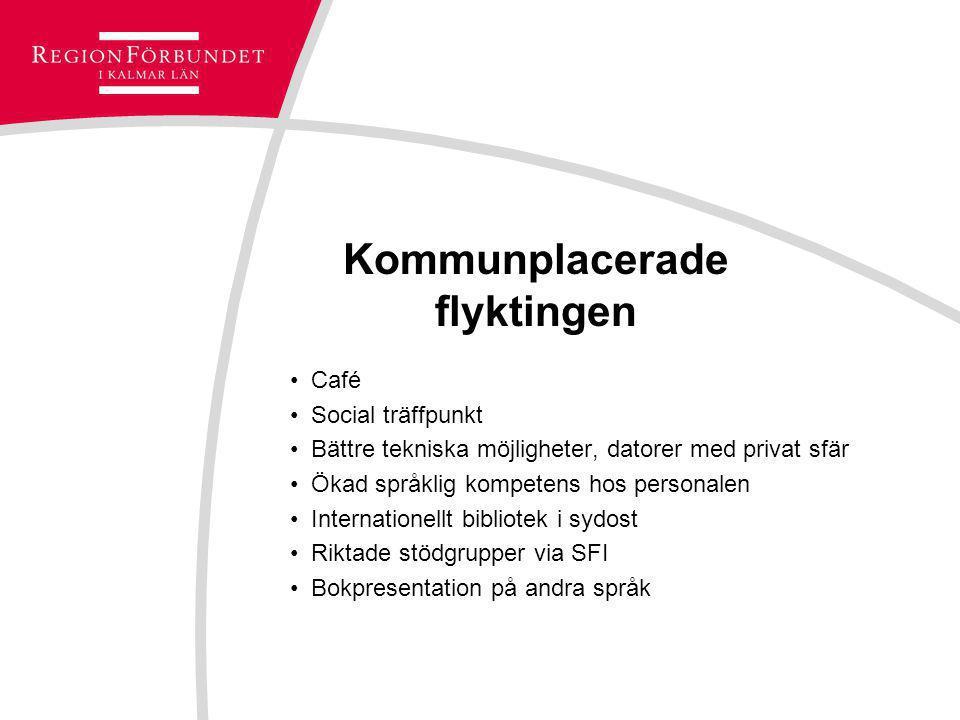 Kommunplacerade flyktingen Café Social träffpunkt Bättre tekniska möjligheter, datorer med privat sfär Ökad språklig kompetens hos personalen Internat