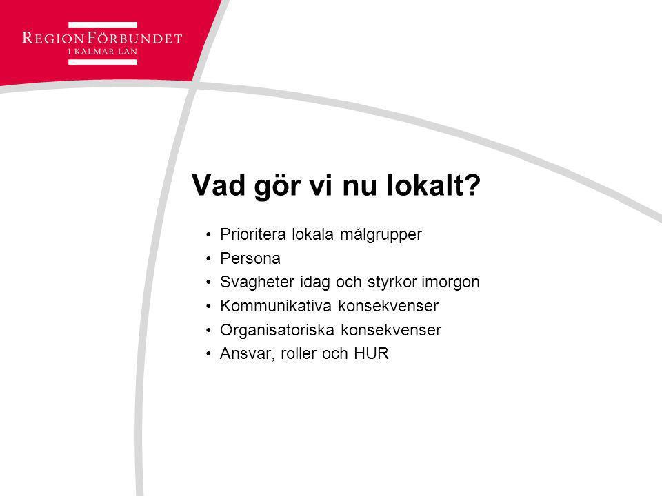 Vad gör vi nu lokalt? Prioritera lokala målgrupper Persona Svagheter idag och styrkor imorgon Kommunikativa konsekvenser Organisatoriska konsekvenser