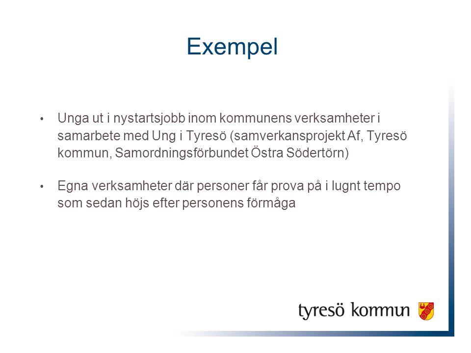 Exempel Unga ut i nystartsjobb inom kommunens verksamheter i samarbete med Ung i Tyresö (samverkansprojekt Af, Tyresö kommun, Samordningsförbundet Öst