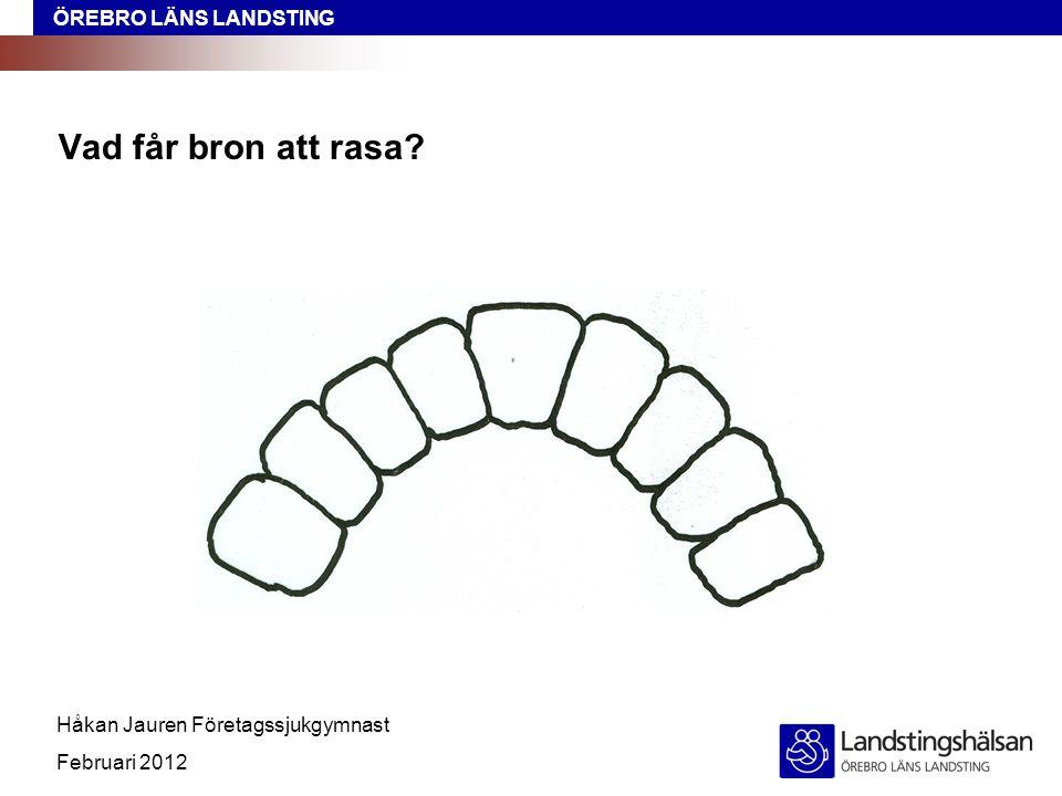 ÖREBRO LÄNS LANDSTING Håkan Jauren Företagssjukgymnast Februari 2012 Vad får bron att rasa?