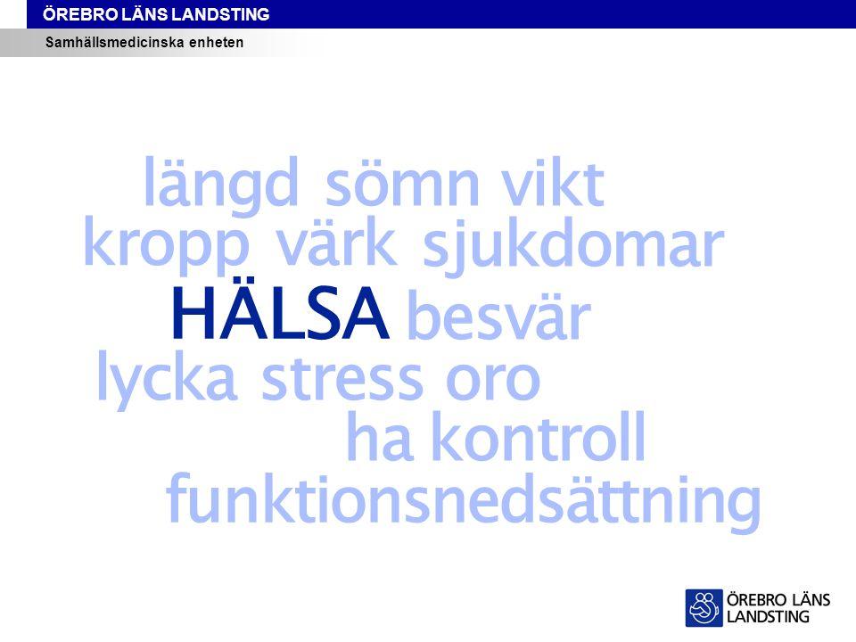 ÖREBRO LÄNS LANDSTING Samhällsmedicinska enheten Andel elever som ofta/alltid haft ont i magen* * under de tre senaste månaderna Liv & hälsa ung i Örebro län 2014
