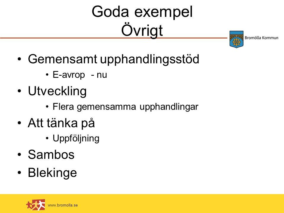 www.bromolla.se Goda exempel Övrigt Gemensamt upphandlingsstöd E-avrop - nu Utveckling Flera gemensamma upphandlingar Att tänka på Uppföljning Sambos Blekinge