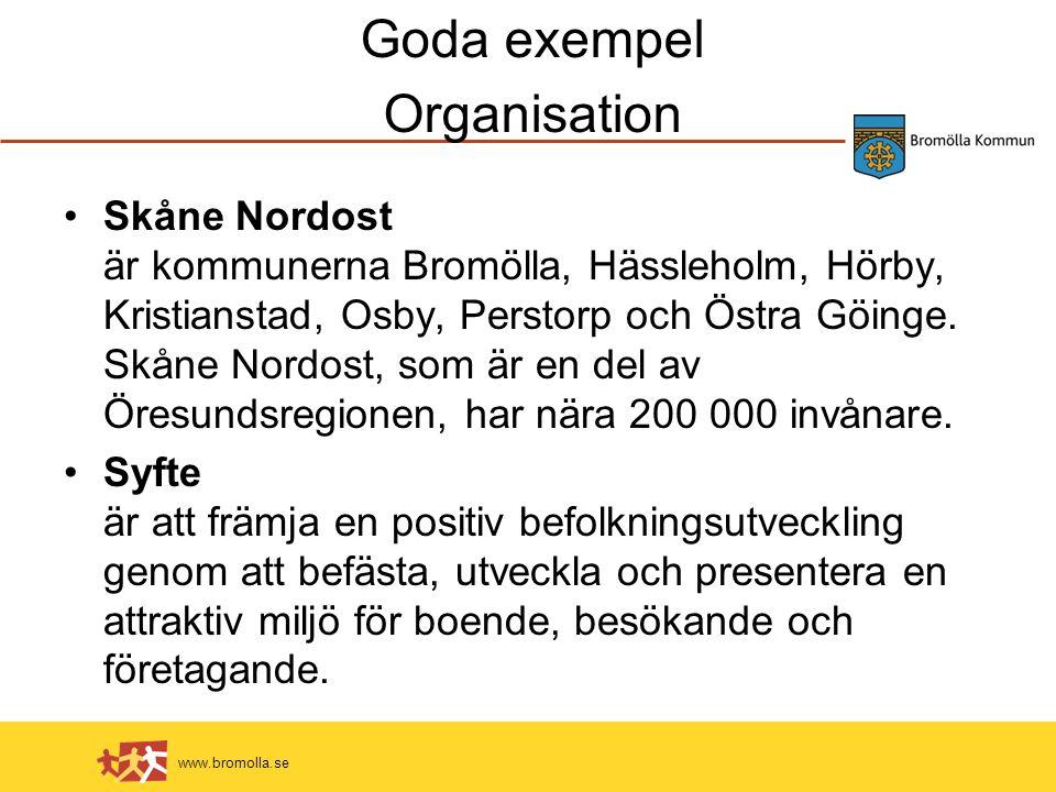 www.bromolla.se Goda exempel Organisation Skåne Nordost är kommunerna Bromölla, Hässleholm, Hörby, Kristianstad, Osby, Perstorp och Östra Göinge.