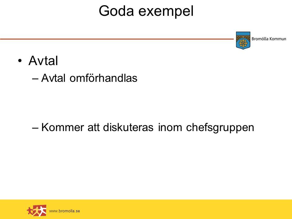 www.bromolla.se Goda exempel Avtal –Avtal omförhandlas –Kommer att diskuteras inom chefsgruppen