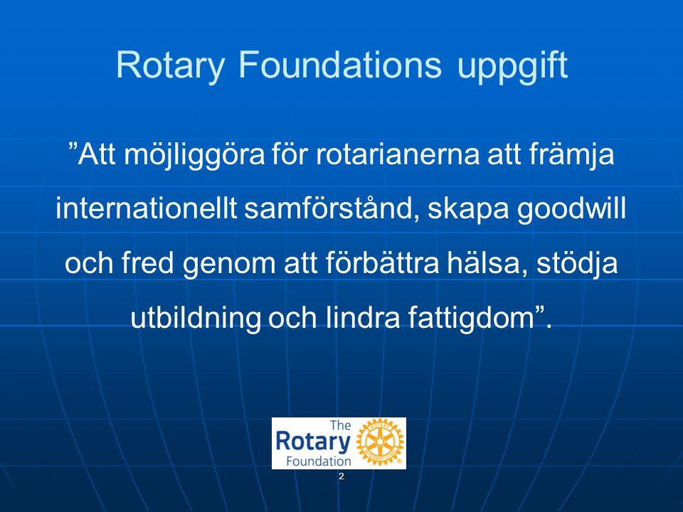 """Rotary Foundations uppgift """"Att möjliggöra för rotarianerna att främja internationellt samförstånd, skapa goodwill och fred genom att förbättra hälsa,"""